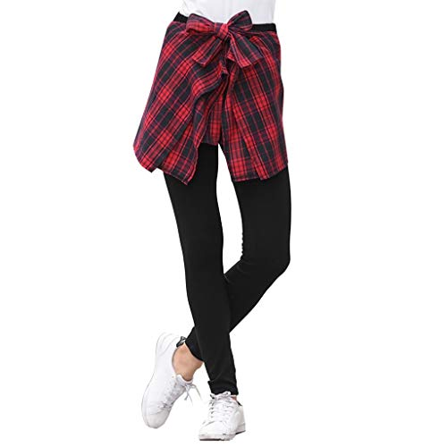Botrong Women Plaid Print Running Trousers Ladies Casual Sport Skirt Pants Red