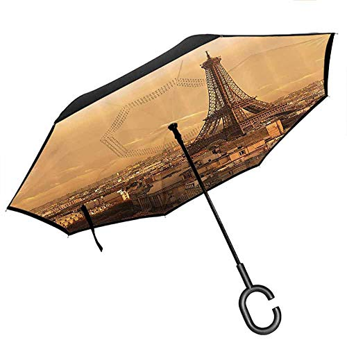 Double Layer Inverted Umbrella, with C-Shaped Handle, UV Protection Eiffel Tower Decor Collection Sunset Old Buildings Tower Rooftop Vacation Honeymoon Journey Monochromatic Image Ivory Cream (A Rooftop Building Patio)