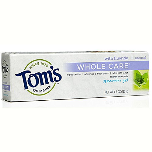 Tom's of Maine Whole Care with Fluoride Natural Toothpaste, Spearmint, 4.7 fl - Spearmint Whole Care Toothpaste