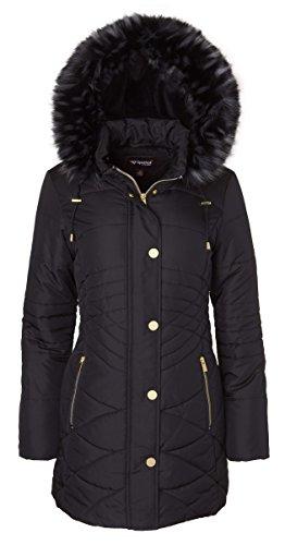 Sportoli Womens Longer Length Plush Lined Puffer Coat and Zip-Off Detacheable Fur Trim Hood