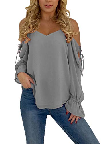 Blibea Womens Pleated Off Shoulder Shirt Sexy V Neck Tunic Tops Long Sleeve Spaghetti Strap Cold Shoulder Tops Blouse Small - Top Sexy Shoulder Off