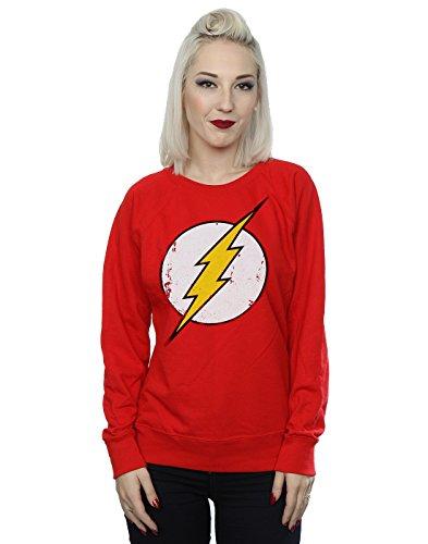 Dc Red Sweatshirt (DC Comics Women's Flash Distressed Logo Sweatshirt Small Red)