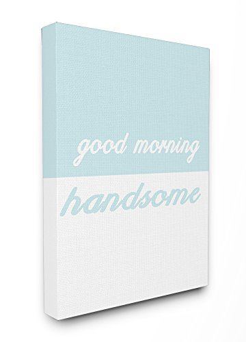 Stupell Home Décor Good Morning Handsome Split Teal Oversized Stretched Canvas Wall Art, 24 x 1.5 x 30, Proudly Made in USA