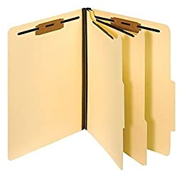 Manila Classification Folders, Letter, 2/5-Cut Top Tabs, 2 Partitions, 10/Bx