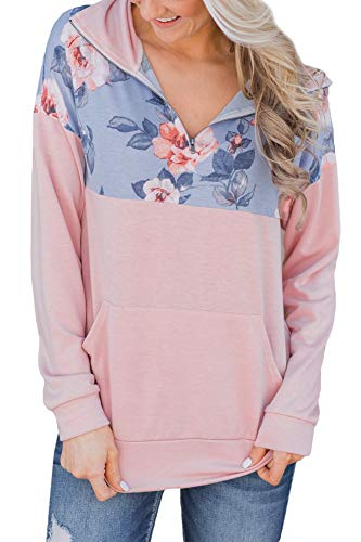 (Women Casual Color Block Floral Pullover Tops Long Sleeve 1/4 Zip Sweatshirt with Pocket Pink 2XL)