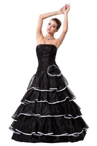Orifashion para vestido de noche mujer a forma de Negro negro