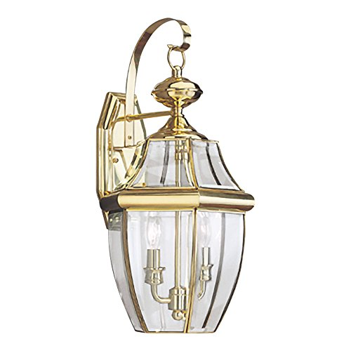 (Sea Gull Lighting 8039-02 Lancaster Two-Light Outdoor Wall Lantern with Clear Curved Beveled Glass Panels, Polished Brass Finish)