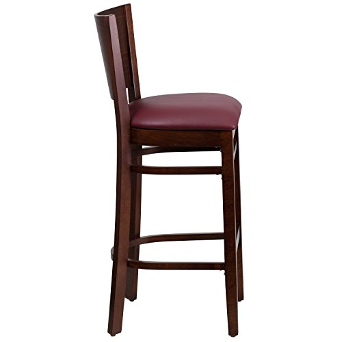 Flash Furniture Lacey Series Solid Back Walnut Wood Restaurant Barstool – Burgundy Vinyl Seat
