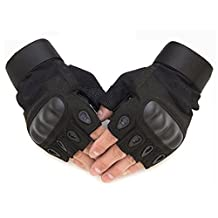 Fingerless/Half Finger Shooting Gloves Hard Knuckle Tactical Gloves for Airsoft Camping Hiking Cycling Climbing Motorcycle Skiing Shooting Unisex for Men and Women