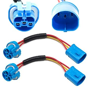 iJDMTOY (2) 9007 9004 Extension Wire Harness Sockets For Headlights, on