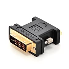 UGREEN DVI-I 24+5 Male to VGA HD15 Female Adapter Gold Plated for Gaming, DVD, Laptop, HDTV and Projector (Black)