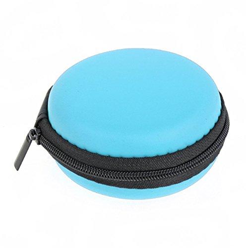 8x3.5cm Portátil bolsa de auriculares redonda caja de almacenamiento EVA auricular bolso monedero azul