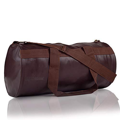 TopGator Leatherette Gym Bag Sports Duffel  Brown