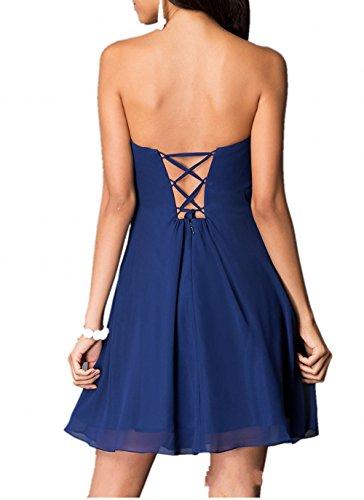 Chiffon Empire Traegerlos Kleider Damen Partykleider Abendkleider Kurz Brautjungfernkleider Mini Charmant Royal Blau ztFaqwyxg