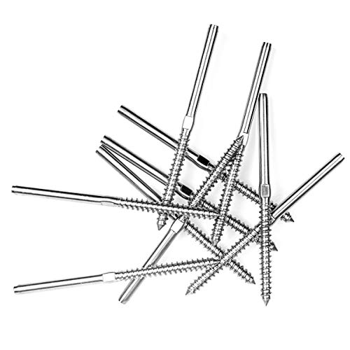 A+Selected 10Pack Lag Screw Hand-Crimp Swage Stud Threaded End Fitting Terminal for 1/8