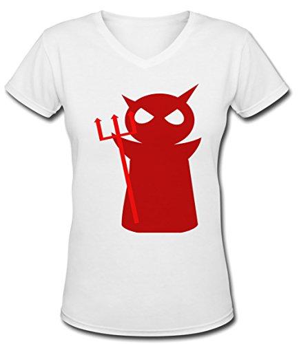 Démon Blanc Coton Femme V-Col T-shirt Manches Courtes White Women's V-neck T-shirt