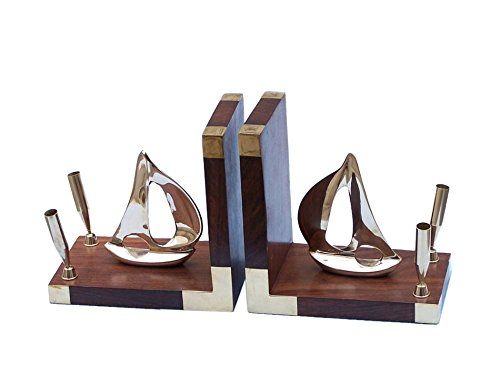 Brass Ship Model Book Ends Nautical Home Decor Beach Bedroom Decorating - Brand