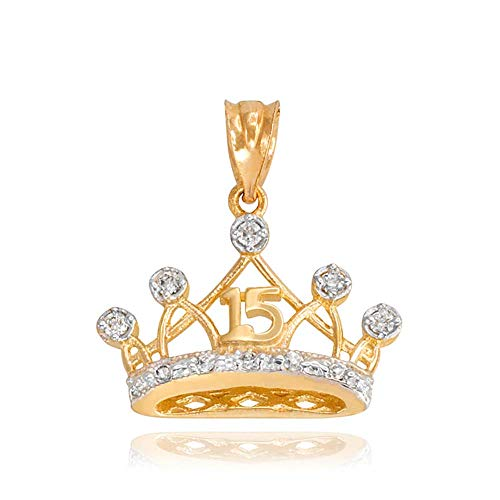 Sweet 15 Años Quinceanera Crown Charm Pendant with Cubic Zirconia in 10k Yellow ()