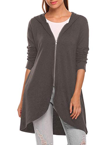 (Zeagoo Women's Casual Light Oversized Zip Hoodie Sweatshirt Jacket Dark Gray Small )