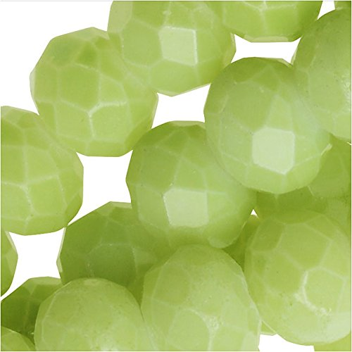 Chinese Glass Beads, Faceted Rondelles 6x4mm, Lime Green, 1 Strand
