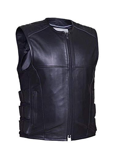 - Men's Premium Leather Swat Style Zippered Motorcycle Vest,Black,Size - XL