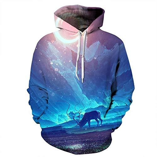Ywfzzxs 3D Hoodies Hd Digital Printed Sweatshirts Long Sleeve Big Pockets Pullover Unisex Dream Space XXL
