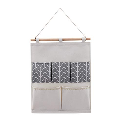 Every Deco 5 Pocket Wall Door Hanging Storage Organization Bag In Grey Chevron