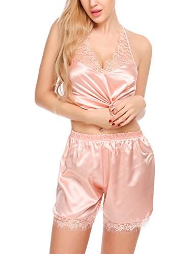 ELOVER Women Lingerie Satin Pajamas Set Lace Halter Strap Camisole Shorts Set Sleepwear