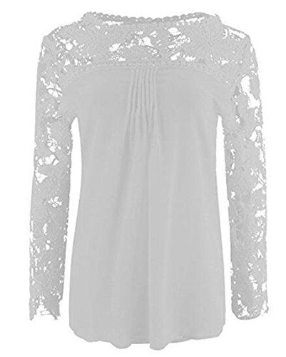 LemonGirl Women Lace Long Sleeve Blouse Shirt Tops White
