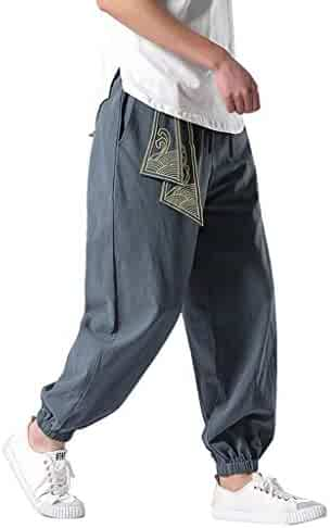 13ab26aa970299 Allywit Men's Pants, Linen Retro Pants Gym Fitness Long Trouser Workout  Elastic Waist Joggers Baggy