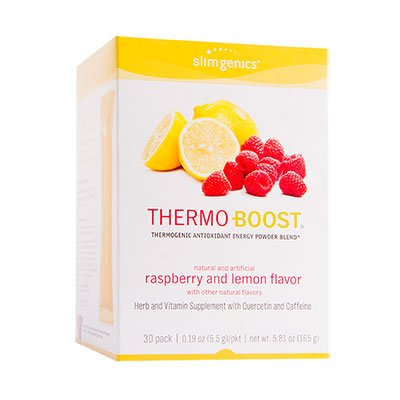 - SlimGenics Thermo-Boost | Thermogenic Antioxidant Energy Boosting Powder Drink Mix - Anti-Aging Properties, Increases Metabolism & Weight Loss, Fights Fatigue - 30 ct (Raspberry Lemonade)