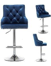 """BTEXPERT Swivel 33.5"""" Set of 2 Kitchen upholstered Dining Barstool 25""""-33"""" Adjustable High Back Stool Counter Bar Chairs, Velvet Chrome, Blue Tufted Trim"""