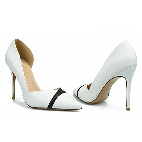 Petite Chaussures Sexy Pointu 10cm Taille De Femmes Stiletto Clubbing Heel White High Mat 32 Travail snfgoij Chaussures 7pTw1q7