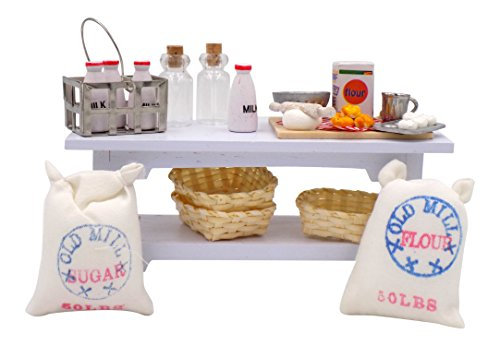 Kitchen Dollhouse Miniatures - Bread Baking Supplies Flour Miniatures for Tabletop, Side Table w/ Baskets, Mini Milk Crate & Glass Bottles - Dollhouse Accessories 1 12 Scale Bundle