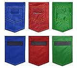 VNOM Magnetic Storage Pockets, Magnetic Pen Bag Tool Bag Blackboard Wall Storage Bag Whiteboard Pen/Wipe Storage Holder Slot, 6 x 4 x 0.2 inchs, Pack of 6, Medal Shape, 2 Red, 2 Blue, 2 Green