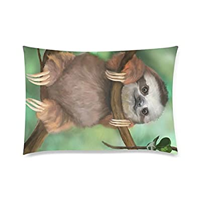 Customized Pillowcase,Sloth Holding The Branches Pillowcase,One Side Pillowcase Pillow Cover 20X30 Inches - Bf Tmall
