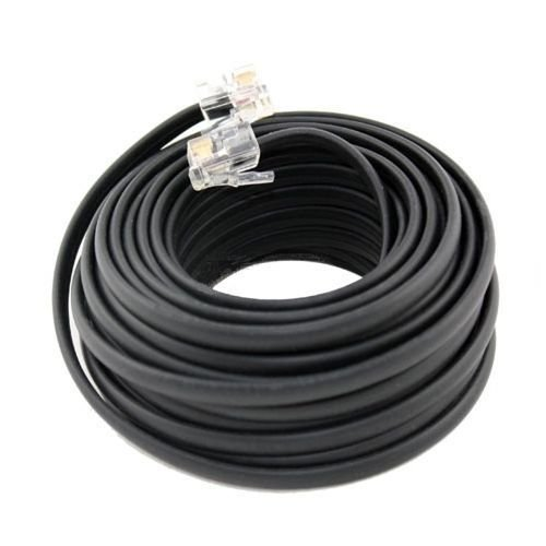 Line 100' 4c Modular (100 FT Feet RJ11 4C Modular Telephone Extension Phone Cord Cable Line Wire Black)