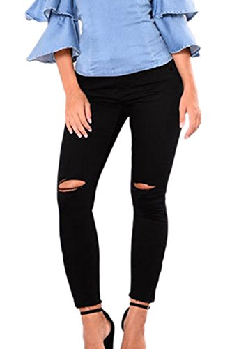 Haute Moulant Jeans Pantalon Trouses Trou La Femme t Taille A Un Black xBwFn8XWUq