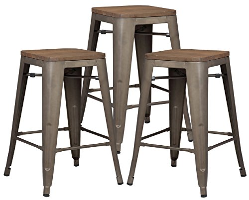 Poly and Bark Trattoria 24 Industrial Metal Counter Bar Stool with Elmwood Seat, Bronze Set of 3