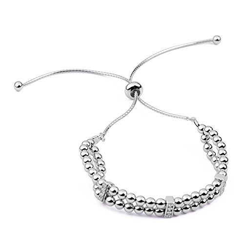 blackbox Jewelry Sterling Silver Two Layer Beaded White Cubic Zirconia Adjustable Bracelet ()