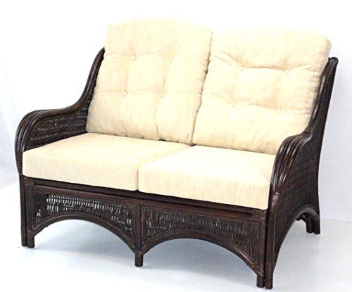 (Jam Design Handmade Rattan Wicker Lounge Loveseat Sofa Couch with Thick Cream Cushion Dark Brown)