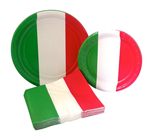 Italian Flag Party Supply Pack! Bundle Includes Paper Plates & Napkins for 8 -