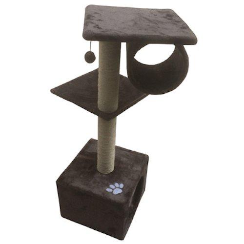 Iconic Pet Three Level Cat Tree Condo with Hammock, Grey