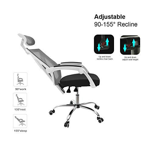 Hbada Ergonomic Office Chair - High-Back Desk Chair Racing Style with Lumbar Support - Height Adjustable Seat,Headrest- Breathable Mesh Back - Soft Foam Seat Cushion, White by Hbada (Image #7)