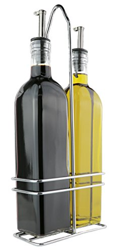 Oil and Vinegar Glass Bottle Cruet Set with Stainless steel Rack Holder - Removable Cork spout - 17 ounces (Cruet Rack)