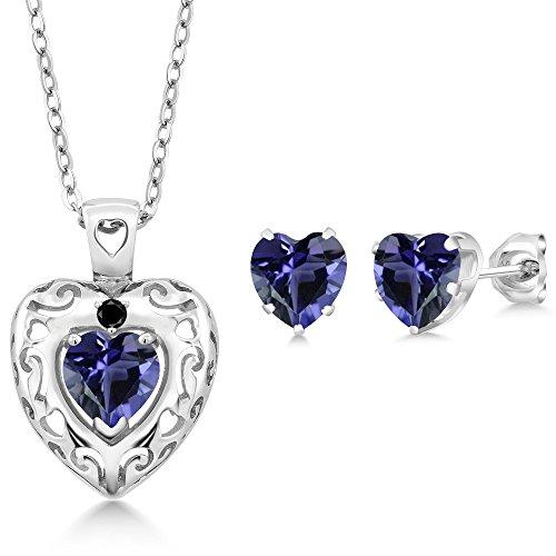 1.76 Ct Blue Iolite Black Diamond 925 Sterling Silver Pendant Earrings Set