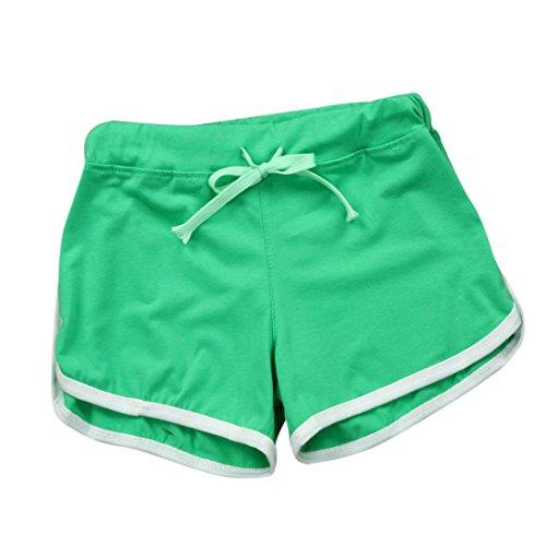 magro BYSTE Pantaloncini vita per e donna Donna alta coulisse elastici pigiama sportivi Jogging Yoga da Palestra corti donna Verde eleganti BYSTE Pantaloncini pantaloncini donna estivo U6Oxt
