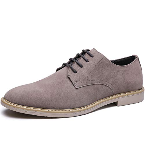 (Men's Suede Oxford Casual Shoes (9, Grey-25))