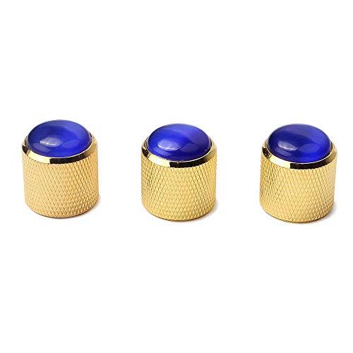- Guitar Parts Gold Metal Dome KNOBS Knurled Barrel blue Gemstone TOP