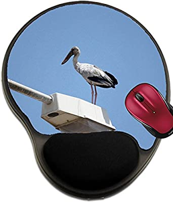 Liili Mousepad wrist protected Mouse Pads/Mat with wrist support design ID: 28903486 big stork standing on top electricity post on blue sky background